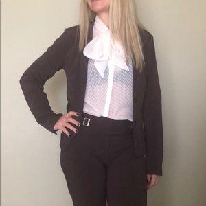 Designer suit in burgundy, XS, fits 4-6